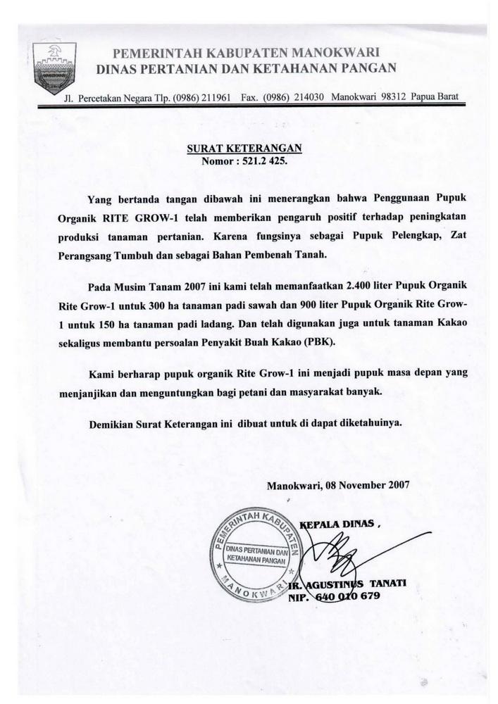 C03 - DIGROW - Surat Keterangan Pemkab Manokwari, Papua