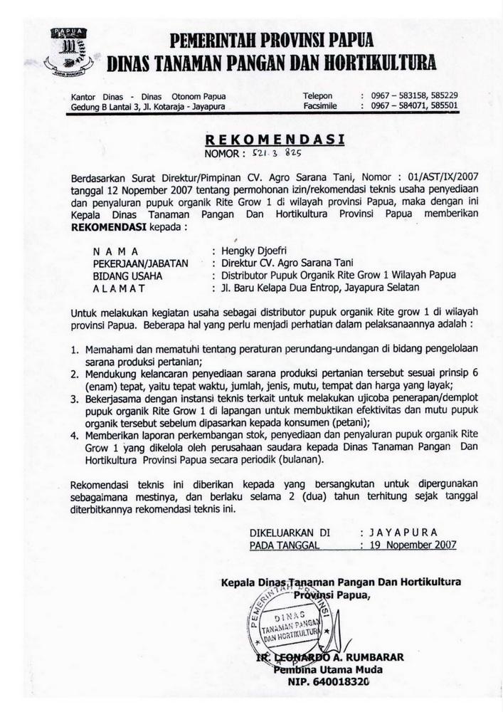 C04 - DIGROW - Surat Rekomendasi Pemprov Papua