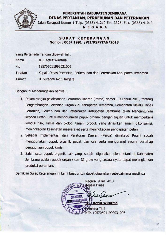 C05 - DIGROW - Surat Keterangan Pemkab Jembrana, Bali