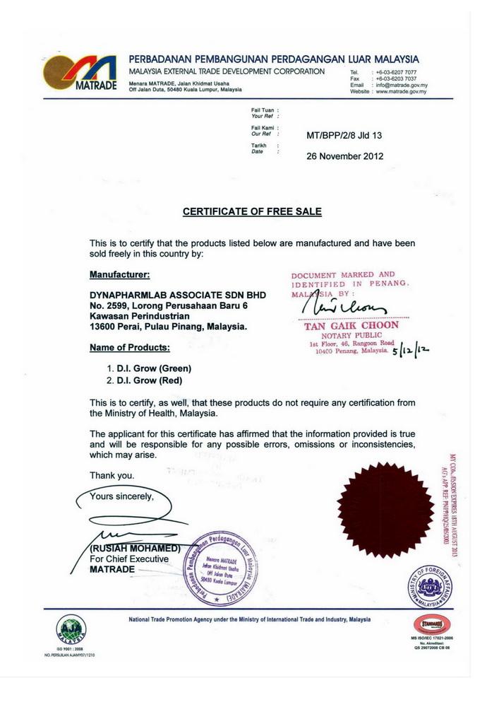 C06 - DIGROW - Certificate Free of Sale Malaysia